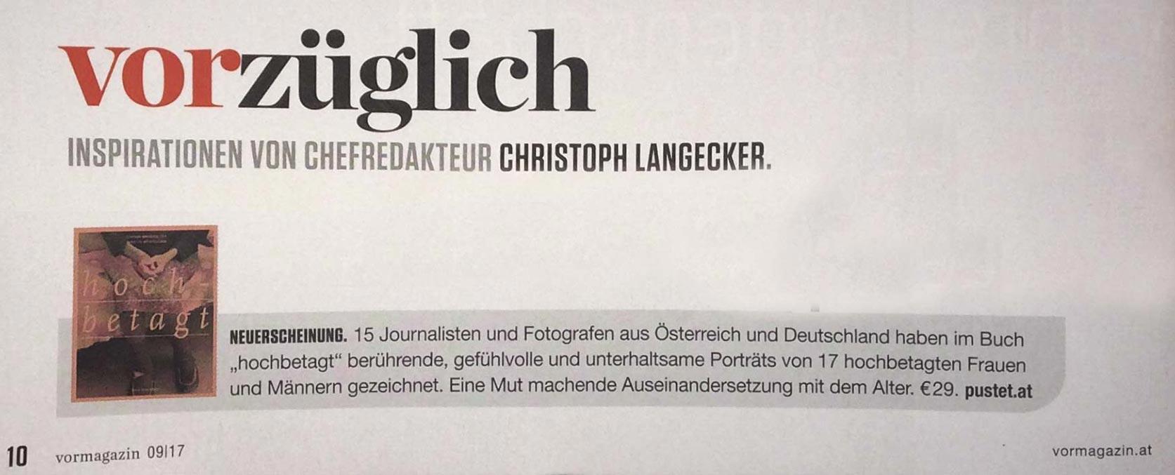 VOR Magazin September 2017 / Vorzüglich